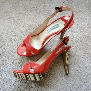 Prada red heels. Zebra platform. 7.5.